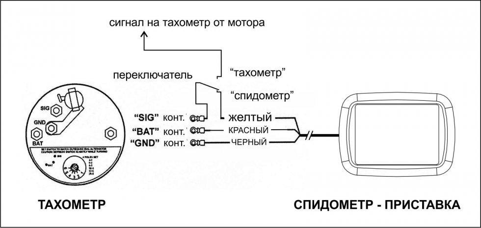 подключение тахометра на лодочный мотор